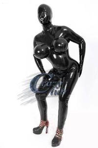 Crazy Club_sexy Personnaliser Femmes Look Sexy Fétiche Fetish Catsuit avec poitrines gonflables Body Caoutchouc noir Vente en ligne
