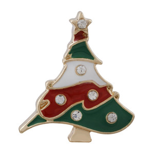 Christmas Snap jewelry enamel Christmas tree Brooch 18MM 20MM Snap button  Wedding Fashion Jewelry Accessory For Women