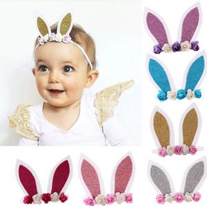 Vendas del bebé para las muchachas del conejo del oído de las vendas de los oídos Día lindo de Pascua del conejito del bebé Hairbands hecho a mano de la flor 3D niñas Tiara infantil Accesorio para el pelo