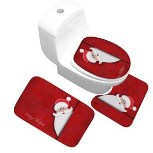Çevre dostu Yüksek Kalite Noel Serisi Banyo Paspas 3 adet / takım Kalın Flanel Emici kaymaz Banyo Paspas ve Tuvalet Kapağı