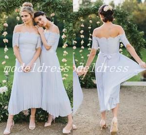 Сирень страна высокий низкий платья невесты с плеча с коротким рукавом чай длина складки сад пляж свадебные платья почетная горничная платье