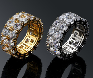 Anéis de hip-hop masculino duplo fileiras de pequenos anéis com grandes anéis de festa de pedra CZ tamanho 7-11