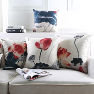 Chinese Culture Lotus Flower Cushion Covers Chinese Ink Painting Thick Linen Cotton Pillow Cover 45X45cm 30X50cm Bedroom Sofa Decoration