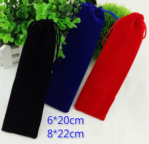 Free Ship 100pcs 6*20cm 8*22cm Handmade Thicker & Better Quality Velvet Locking Drawstring Pouch Jewelry Comb Bags Wedding Party Gift Bags
