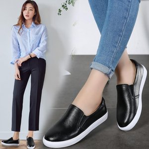 Sports & Outdoors pure color white black Lok Fu shoes leather flat lazy shoes women's white fashion casual Leather shoes A21