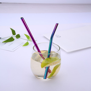 Renkli Paslanmaz Çelik Payet İçme Düz ve Bükülmüş Kullanımlık Filtre DIY Çay Kahve Araçları Ile Fırça Temizleyici Fırça