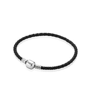 100% Gerçek Siyah Deri Dokuma Erkek Charm Bilezikler 925 Gümüş Pandora Charms Bilezik Kadınlar ve erkekler için En Iyi Hediye Takı