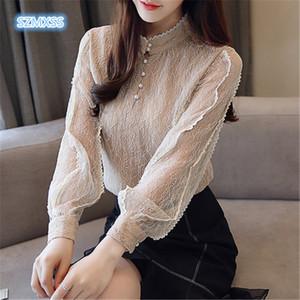 SZMXSS Donna Hollow Slim Elegante donna primavera autunno camicette di perle scollatura manica lunga pizzo camicie Top manica lunga Donna Top