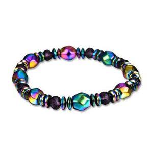 Rainbow Hematita Magnética Pulseira para Homens Mulheres Poder Saudável Pulseiras Pulseira Moda Jóias MOQ 20 pcs