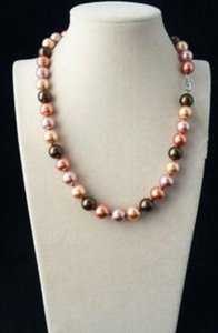 100% echte schöne 10MM Multi-Color Südsee Shell Perlenkette 18 ''