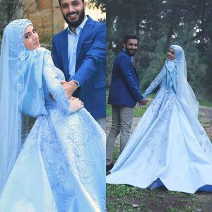 Новые Саудовская Аравия Пром Платья Высокий Воротник Высокое Качество Кружева Аппликации Мусульманское Вечернее Платье С Длинным Рукавом Атласная Вечерние Платья