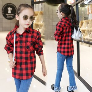 Shirts For Girls School Teenager Plaid Long Sleeve Cotton Girls Blouses Top Autumn Kids Clothes For 5 6 7 8 9 10 Years