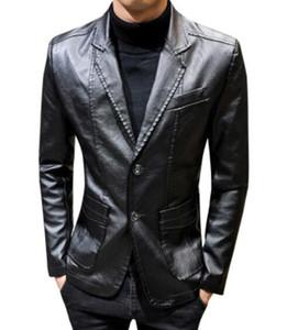 Men winter long Leather Suits handsome Slim Leather jacket Business Windproof warm men Classic British coat Boyfriend christmas gift