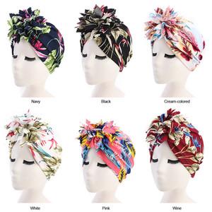 Muslimische Frauen Drucken Große Blume Turban Hüte Chemo Beanie Hijab Plissee Wrap Abdeckkappe Haarausfall für Krebs Zubehör