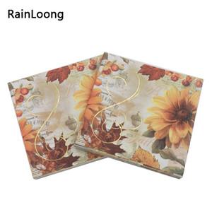 [RainLoong] 3plys напиток бумага салфетка цветок золотой фольги праздничная партия питания салфетки Салфетки салфетки декупаж 25 см*25 см
