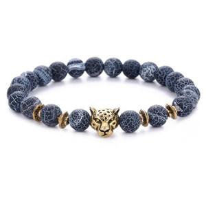 JLN Leopard питание бисер браслет Lava выветривание Агатового Золотой песок Gemstone бисер Stretch Пар браслет для парня девушка