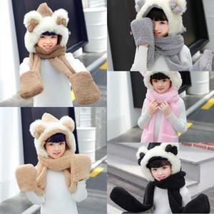 Moda Unisex Meninas Gorros Cap Set Bebê Crianças Bonito Ear Bow Scarf Hat Conjuntos de Luva de Flanela Crianças Inverno Quente cachecóis