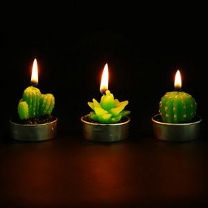 Las plantas de cactus Velas perfumadas Mini artificiales Interior de la casa olor velas románticas Vela verde de la fiesta de bodas cumpleaños de la Navidad Decora
