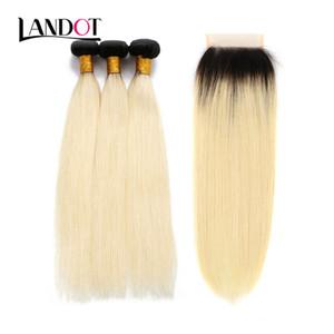 9A Ombre 1B / 613 # Bleach Blonde Brasiliano Peruviano Malese Indiano Vergine Tessuto Dei Capelli Umani Dritto 4 Fasci Con Chiusure Pizzo Può Essere tinti