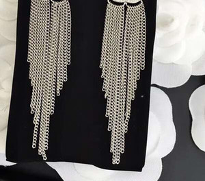 Moda clásico de cristal pendientes largos de la borla pendiente de gota para las mujeres joyería pendientes de marca con bolsas de franela para el regalo