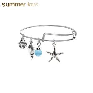 DIY Extensible Fil Bracelets Bohême Plage Marque Design Starfish Shell Perles Pendentif Câble Fil Bracelet Pour Femmes Fille Bijoux De Mode