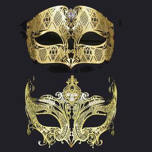 1 Satz Schwarz Gold Silber Strass Crown Erwachsene Hochzeit venetianische Maskerade Paar Maske Metallkostüm-Abschlussball-Partei-Maske Lot