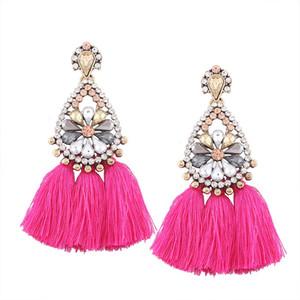 LZHLQ Quaste Ohrringe Für Frauen Böhmen Boho Vintage Ohrringe Weiblichen Modeschmuck Nette Große Große Legierung Kristall