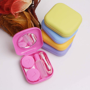 Mini Solid color Contact Lenses Case With Mirror Plastic Square Case Set Box Makeup & Beauty Tools Accessories