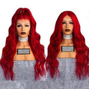 Sexy Cosplay peluca roja larga de onda del cuerpo pelucas delanteras de encaje sintético sin cola con pelo de bebé pelucas de fibra resistente al calor de 180% de densidad para mujeres