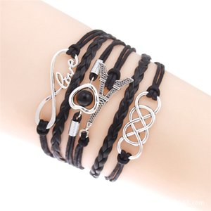 Infini Double Bracelet En Cuir Femmes Bijoux De Mode Multicouche Perle Charme Bracelet Pour Femme Cadeau Armure Tour