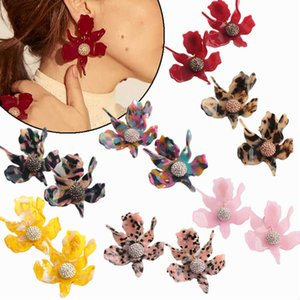 Newset style Fashion earrings high-end design gold-plated earrings Multi-colored resin lily flowers earring in stock free shipping