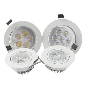 Downlights LED 3W 5W 7W 9W 12W Grau / Bright Dimmable Lâmpada Downlights Motorista Rodada LED Luzes de teto Downlight LED Recesso