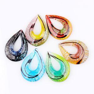 Moda Güzellik Toptan 6 adet el yapımı Murano Lampwork Cam Karışık Renkli Damla Sier Folyo Kolye Charms kolye