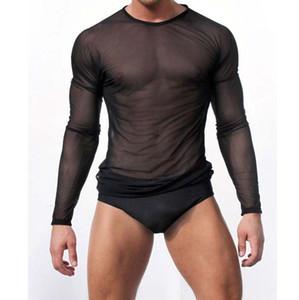 مثير للرجال شفاف شير شبكة داخلية انظر من خلال كم طويل تي شيرت بلايز قميص اللياقة البدنية عارضة blusas الصلبة