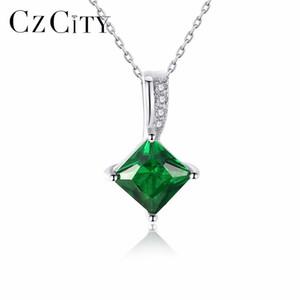 CZCITY Charm Chain Necklace Emerald Green Cubic Zirconia Joyería Popular 925 Sterling Silver Collar Colgante para Las Mujeres Regalo Y1890705