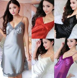 새로운 GsPot 여성 섹시 잠옷은 레이스 트림 새틴 Chemise Babydoll Nightwear G-String 여성 잠옷 7 색 4 가지 사이즈를 설정합니다.