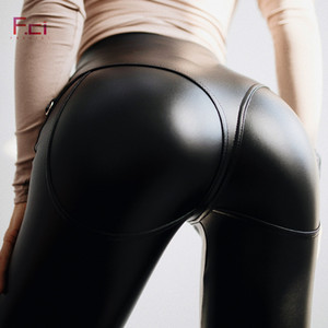 FREICICI Leggings in pelle PU sexy da donna con cerniera frontale Push Up in pelle sintetica Pantaloni in lattice pantaloni in gomma Jeggings neri