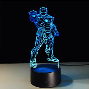 Super-herói Ironman LED Night Light para meninos das meninas Quarto iluminação da decoração inteligente Magic Night Luz Marvel Heroes