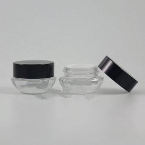 Vide 5g Verre Crème Jar Petites Femmes 5ml Conteneur Cosmétique Mini Couvercle Noir Bouteille Rechargeable expédition rapide F673