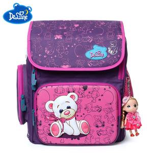 Delune bolso de escuela lindo Ortopédica mochila escolar Niños duradero mochilas oso cremallera mochila para niños Niñas Niños Grado 1-6