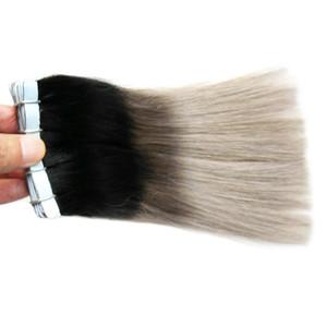 테이프 확장 회색 머리카락 100g 테이프 피부 Weft 인간 1B 및 회색 Omber Remy 테이프 머리 확장 40PCS
