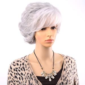 Perruques Courtes Pour Les Femmes âgées Blanc Gris Ombre Cheveux Avec Bangs Cheveux Synthétiques Perruque Complète Cosplay