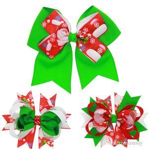 Arco de bebé Clip de Cabello Grosgrain de Navidad Arcos de la Cinta CON Clip Snow Baby Girl Horquillas para el pelo En Capas de Navidad Accesorios Pin Pin KFJ162