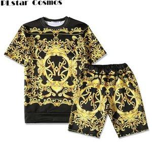 PLstar Cosmos Medusa verão Harajuku manga curta T-shirt Medusa corrente de ouro da moda de impressão 3D camisa de algodão t Set
