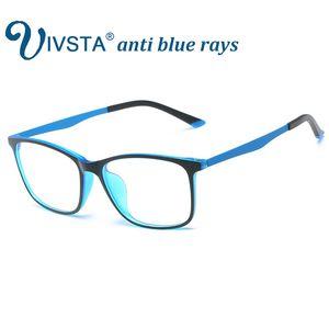 IVSTA Anti Rayons Bleus Lunettes de Jeu Hommes pour Ordinateur Téléphone Flexible TR90 Orange Bleu Super Léger Mince Carré Grade Personnalisé