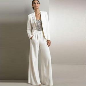 Beyaz Fildişi annesi Gelin Pant Suits Sequins Saten Uzun Kollu Örgün Törenlerinde Düğün Konuk Anne Gelin Suits Üç Setleri