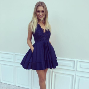 2018 Navy Blue A-line Short Homecoming Dresses Knee Length Summer Chiffon Lace Girl Graduation Dress Cocktail Gowns