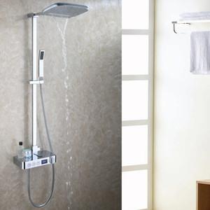 디지털 디스플레이 욕실 샤워 세트 지능형 브래스 수도꼭지 스마트 비 벽 폭포 온도 서모 스탯 샤워 꼭지