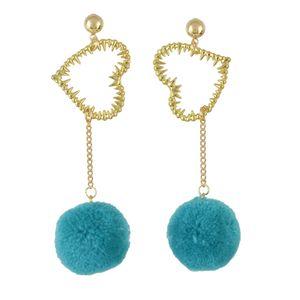 idealway 3 Farben Korean Süße Lange Ohrringe Plüsch Ball Herz Anhänger Ohrring Frauen Mädchen Ohr Zubehör