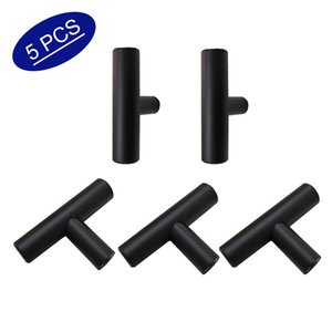 Mat Siyah Kabine Pulls T Bar tek delik Dolap kapı kolları 2 inç uzunluk Yuvarlak tüp Paslanmaz Çelik Çekmece kolları 5 parça